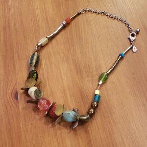 Chico's Unique Asymmetrical Glass Bead Necklace